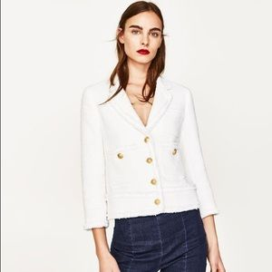 Zara Frayed Jacket with Pockets S